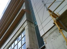 Ministry building during installation - at window interface
