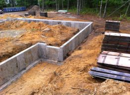 Foundation wall shortly after forms stripped