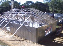 Trusses being set, rear view